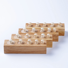 Baby Toy Montessori Cylinders 4 Blocks Sensorial Preschool Training Early Childhood Education Brinquedos Juguetes(China)