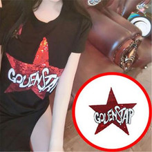 1Pcs Stars Designs GOVENSTAP Logo Embroidered Big Patches Clothes Sequins Patch DIY Hotfix Motif Applique Free Shipping