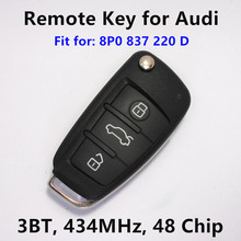 Remote Key for Audi A4 S4 A3 S3 TT Car Key Remote Transmitter Fits 8P0837220D 8P0 837 220 D