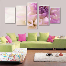 Rushed 5 Pieces/set Modern Sitting Room Module Picture Poster Print Canvas Art Pink Flower Home Decoration Fashion Painting