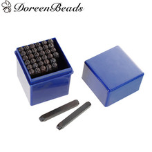 "DoreenBeads 5mm Carbon Steel Number "" 0-9 "" ""&"" Alphabet /Letter "" A-Z "" Punch Metal Stamping Tools Rectangle Gunmetal 36PCs/Set(China)"