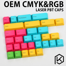 cmyk rgb dip dye PBT plastic OEM mechanical keyboards keycaps profile Laser etched legends cyan magenta blue green yellow purple