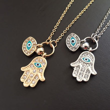 Vintage Arab Crystal Blue Evil Eyes Hamsa Hand Pendants Necklace Brand Luck Fatima Palm Gold Color Chain nice Necklace