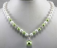 latest fashion design! wholesale/retail 8mm white and light green shell pearl necklace+14mm pearl pendant(China)