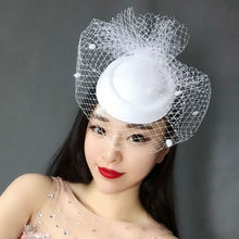 Newest  White Black Dotted Mesh Wedding Fascinator Hat Women Vintage European Ladies Fancy Show Party Race Dinner Veil Headpiece