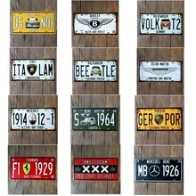 Meijswxj Vintage Tin Signs Motorcycles Car Metal License Plate Wall Sticker Plate Bar Cafe Shabby Chic Art Wall Painting decor