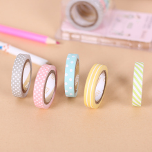 5PCS/Set Candy Color Rainbow Striped Dots Washi Tape Set Decorative Scotch Tape Papelaria Label Masking Sticker Tape