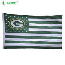 150*90cm 3X5FT American Green Bay Packers USA Team Flag With Stars and Stripes Custom Banners Polyester Flying Sport Flags(China)