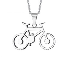 Tiamor Titanium Stainless Steel Bicycle Pendant Necklace Charm Full Silver Necklaces & Pendants Bike Jewelry for Men Ti16