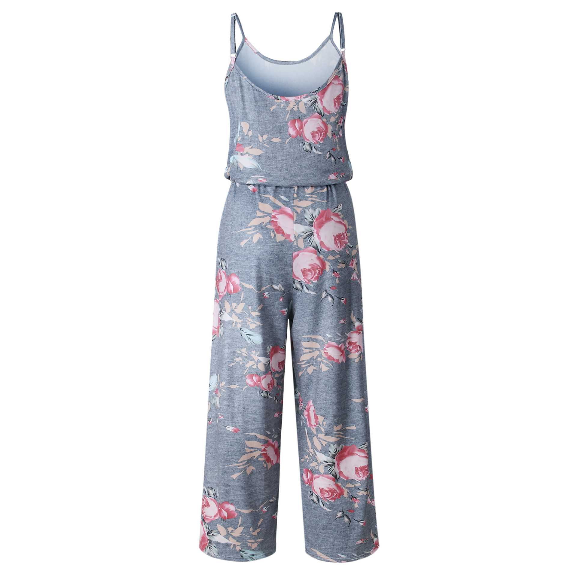 Spaghetti Strap Jumpsuit Women 2018 Summer Long Pants Floral Print Rompers Beach Casual Jumpsuits Sleeveless Sashes Playsuits 13
