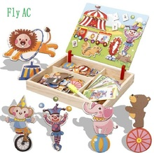 Fly AC Multifunctional Educational Building Traffic  Wooden Magnetic Puzzle Toys for Children Kids Jigsaw Drawing Easel Board