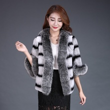Lady Real Print Rex Rabbit Fur Jacket Coat Fox Fur Collar Autumn Winter Women Fur Trench Outerwear Coats Plus Size VF4052(China)