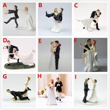 Free Shipping Resin Bride & Groom Wedding Cake Topper Romantic Wedding Couple Party Decoration Adorable Figurine Craft Gift