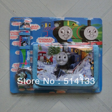 8Pcs Hot New Wholesale Thomas & Friends Projection watch children watch set with wallet purse gifts and toys