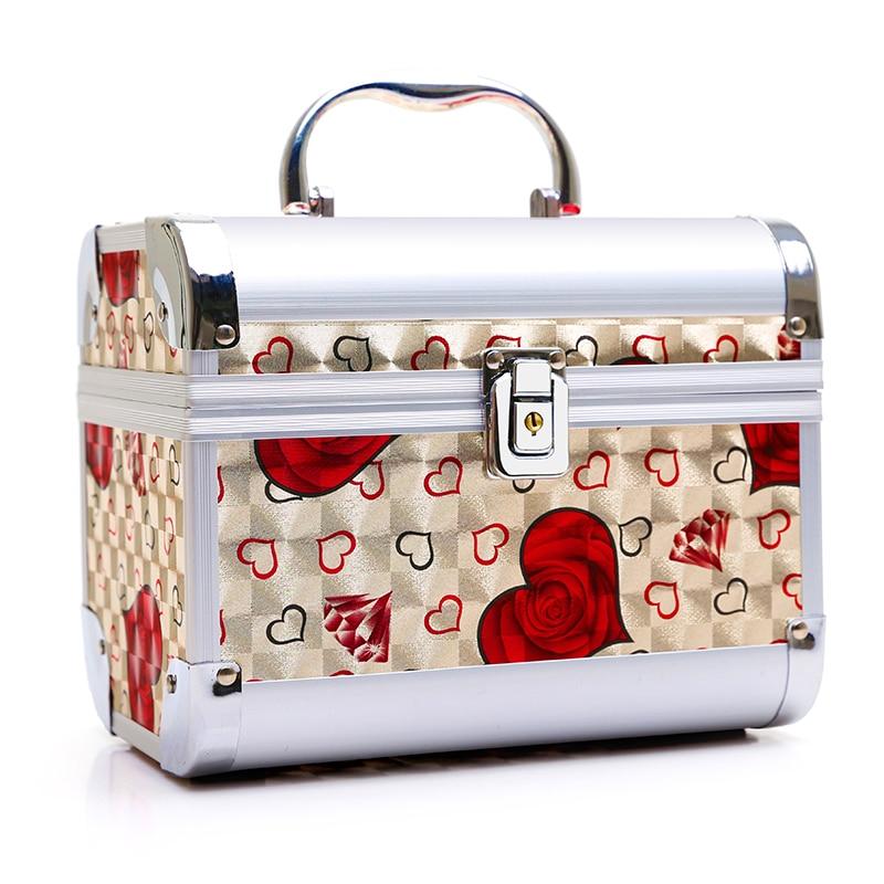 Cosmetics Bag Large Capacity Receive Bag Portable Portable Multi-function High-grade Aluminum Alloy Cosmetic Case Professional<br>