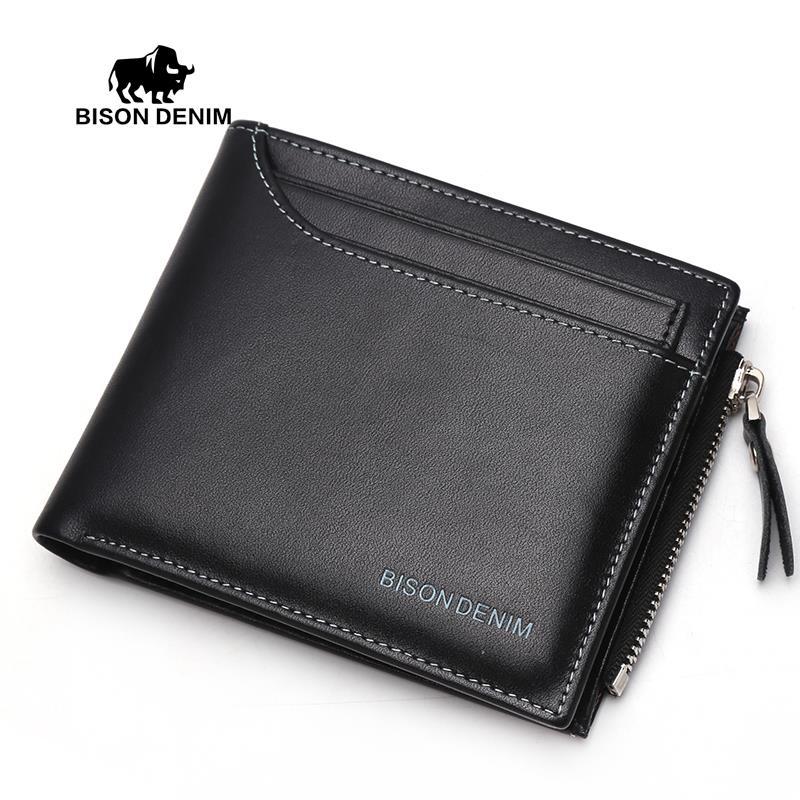 BISON DENIM  2016 Functional Men Wallets Genuine Leather Bifold Wallet Card Holder Coin Purse Pockets Zipper Wallets<br><br>Aliexpress