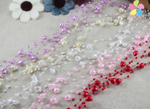 6pcs( 1.3m/piece) Pearl Heart Beads Chain Wedding Party Flower Bouquet Decoration 055002001(China)