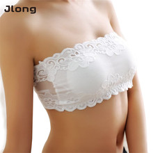 Buy Sexy Women Underwear Brassiere Floral Lace Floral Bra Strapless Wire Free Bra Prevent Exposed Lace Wrapped Chest Padded Bra