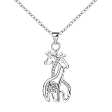 Fine quality cz Zircon jewelry animals silver plated pendant necklace Couple Giraffe charm lucky jewelry girls friend gift