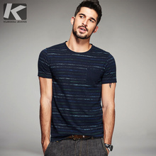 KUEGOU Summer Mens Fashion T Shirts 100% Cotton Blue Striped Brand Clothing Man's Short Sleeve T Shirts Male Wear Tops Tees 8123
