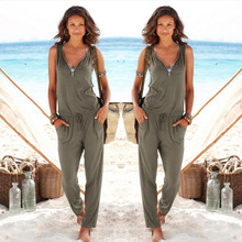 Sexy Sleeveless jumpsuit women long romper 2017 summer women lady Fashion trousers beach jumpsuit coveralls sexy female frock(China)