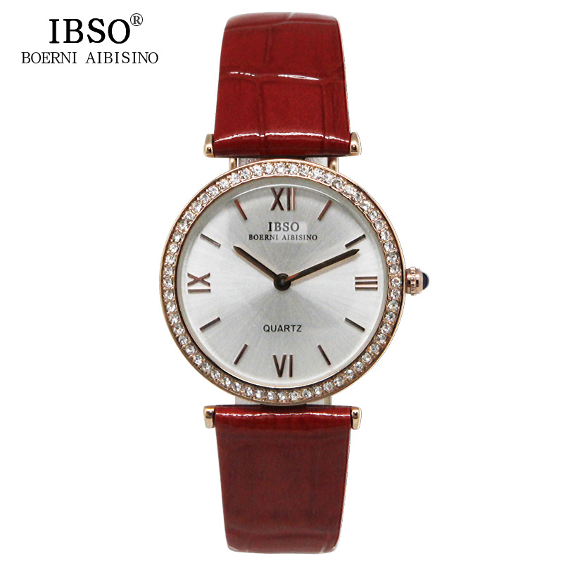 IBSO Top Brand Woman Watches Leather Strap Fashion Watch Women Luxury Crystal Diamond Relojes Mujer 2017 Waterproof Montre Femme<br><br>Aliexpress