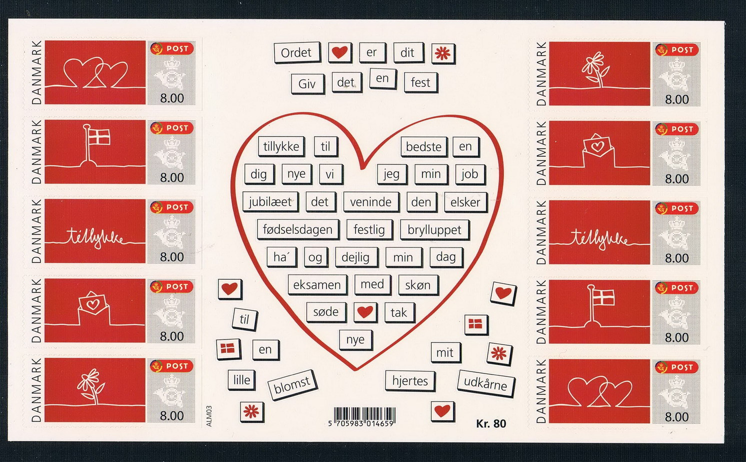 M0856 Denmark 2011 Valentines Day greetings stamps stamps 1MS new edition stickers small flag 1205<br>