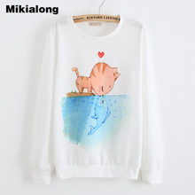 Mikialong Sweatshirts 2017 Women Kawaii Cat Printed Hoodies Loose Long Sleeve Autumn Jumper Female Tracksuits Moletom Feminino