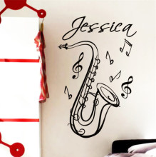 SAXOPHONE Customize Name Music Instrument Vinyl Wall Decals Sticker Art Home Decor Mural Fashion Room Wall Stickers KW-314(China)