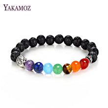 New Women Men Jewelry 7 Chakra Mixed Nature Stone Bracelet Buddha Healing Balance Beads Fashion Boho Bangles Yoga Gifts(China)