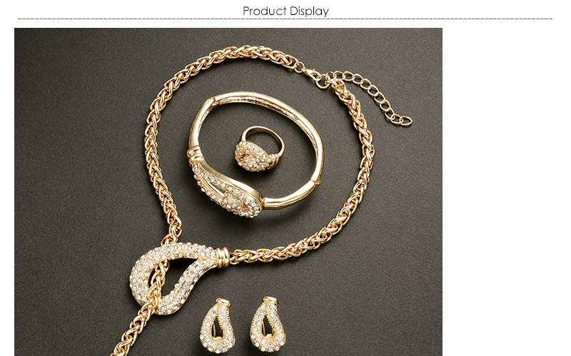 AYAYOO African Beads Jewelry Set Nigerian Wedding Gold Color Long Necklace Jewellery Sets For Women Luxury Dubai Jewelry Sets (1)
