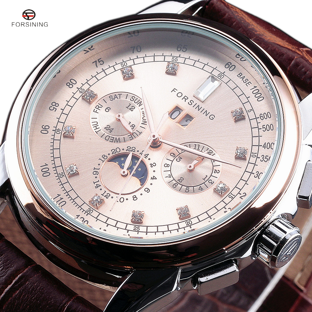 Forsining Moon Phase Shanghai Movement Rose Gold Case Brown Genuine Leather Strap Mens Watches Top Brand Luxury Auotmatic Watch<br>