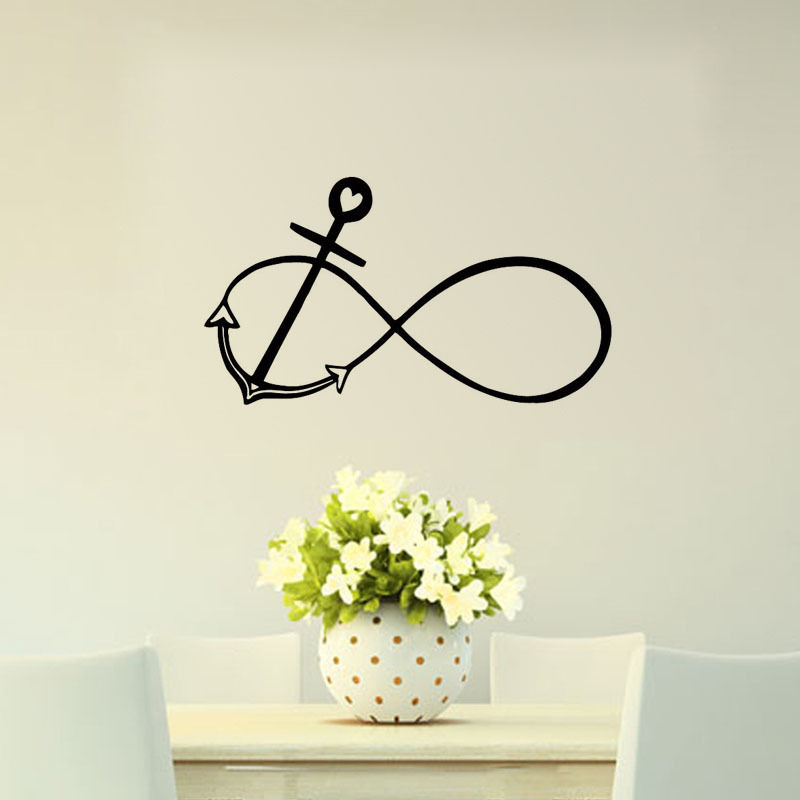 Infinity Sign and Anchor Wall Decals For Living Room Marine Removable Home Decor Bedroom Mural Vinyl Wall Sticker Hot Sale ZA504(China (Mainland))