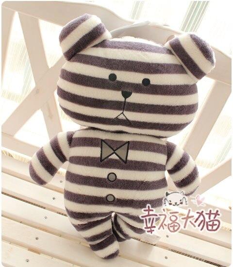 Super cute 56cm 1pc creative stripe gentleman bear hold pillow cushion plush doll lovely girl children birthday gift stuffed toy<br><br>Aliexpress