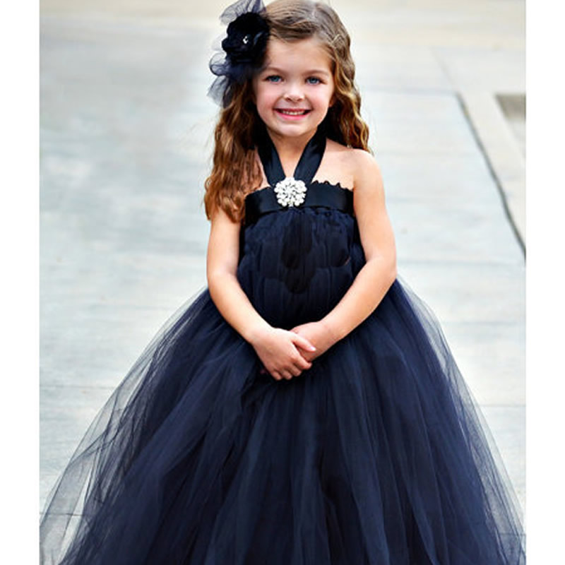 2016 Top quality European style Flower Girl Dresses Black and Cyan 2-12Y Cute Draped Ball Gown Evening Dress Children Birthday<br>