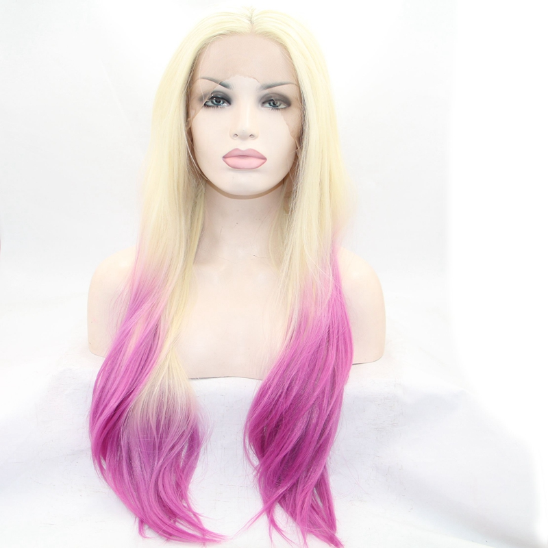 Ombre wigs 2T silky straight hair lace front wig middle part synthetic straight hair wigs heat resistant cosplay wigs wholesale<br><br>Aliexpress