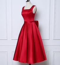 Custom Made New Cheap Bow Satin Short Bridesmaid Dress Wedding Party Gown A-Line Red Bridesmaid Dresses Gown Homecoming Dress