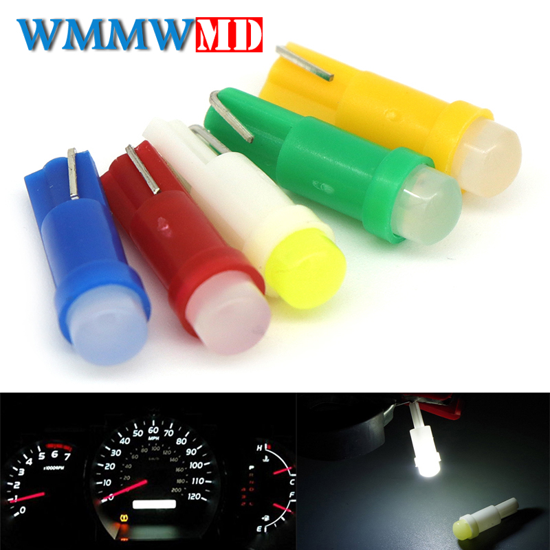 WMMWMD 2pcs T5 led car dashboard light instrument automobile door Wedge Gauge reading lamp bulb 12V cob smd Car Styling