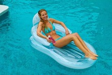 Transparent armrest backrest chair inflatable floating row floating bed beach