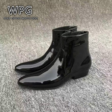 2017 NEW style Top quality black patent Lacquer designer men shoes luxury brand Chelsea mens boots shoes
