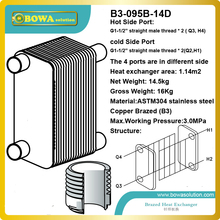 120KW water to water B3-095B-14D AISI304 stainless steel plate heat exchanger replace SWEP heat exchanger(China)