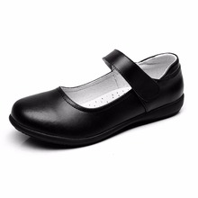 BBX brand kids shoes girls school uniform dress shoes black genuine leather flats for toddle little kids big kids(China)