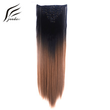 "jeedou Straight Synthetic Hair 24"" 60cm 100g Clip In Hair Extensions 7Pcs/set Gray Black Brown Rainbow Omber Color Hairpieces"