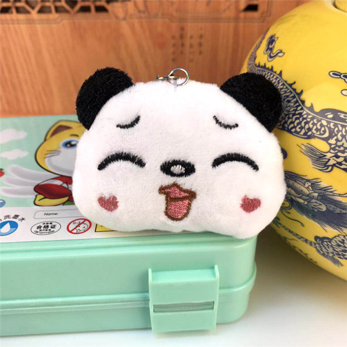 Fashion Panda Emoji Plush Toys Key Chain Ring Pom Bear Keychain Woman Bag Charms Man Car Keyring Wedding Party Trinket Jewelry (19)_