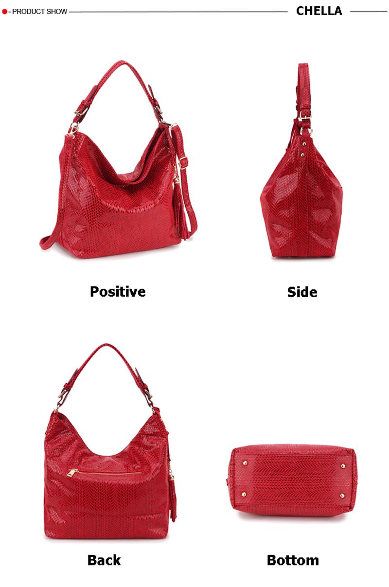 Women Snake Leather Shoulder Bag Female Serpentine Pattern Hobos Bags Tassel Big Handbag Luxury Designer Ladies Tote SS0309 (7)