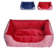 Striped Dog Cage Cat Litter Puppy Mattress Pet Soft Puppy Tent 3 Colors
