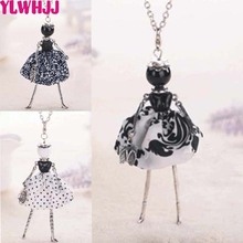 YLWHJJ new cute girl black dress long chain doll necklace women fashion statement jewelry baby fairy resin maxi necklace &(China)