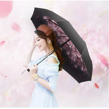170378/Dual use umbrella/Business sunny umbrella/Princess Flowers Dome Parasol Sun/Rain Folding Umbrella prain women umbrella
