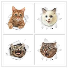 3D Effect Cats Toilet Switch Toilet Door Stickers Cartoon Refrigerator Wall Stickers Decals For Home Bathroom Decor Poster Mural