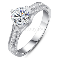 Charles&Colvard 1 carat pure 925 silver simulation moissanite man made diamant ring 18k white gold PT950 ring